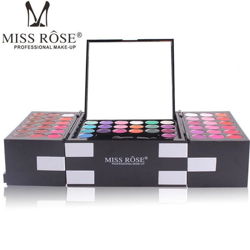 MISS ROSE Eye Shadow Palette Include 144 Color Eye Shadow Shimmer 3 Color Blush 3 Color Eyebrow Powder Makeup Matte Glitter cosmetic makeup 24 color eye shadow 3 color grooming powder 3 color blusher palette black
