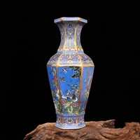 Yong Zheng in the Qing Dynasty blue enamel flower and bird vase hexagonal antique porcelain