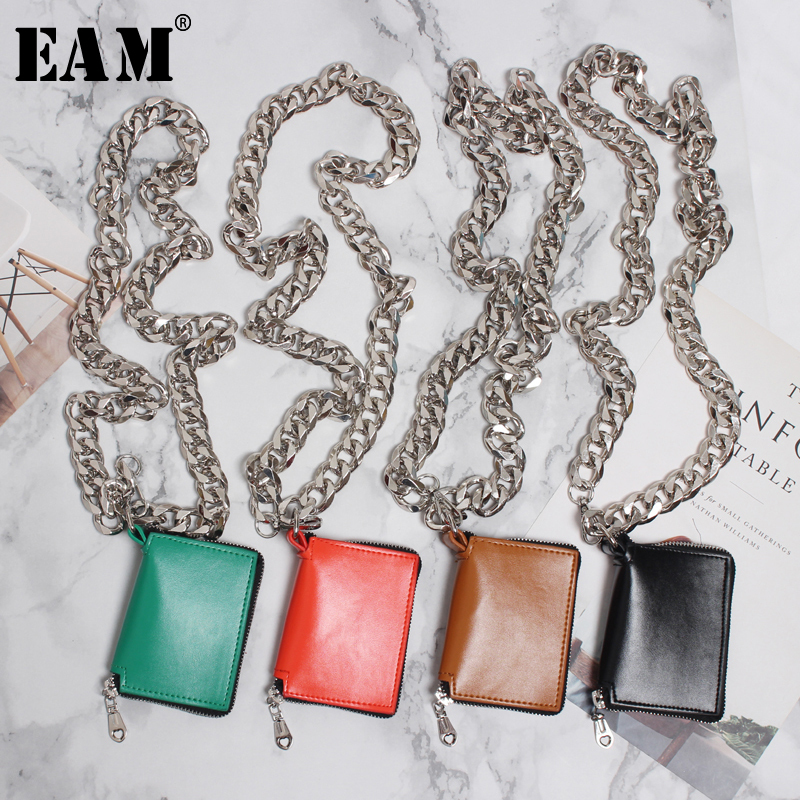 [EAM] 2019 New Spring Summer Pu Leather Mini-bag Chain Split Joint Personality Women Accessories Fashion Tide All-match JW295