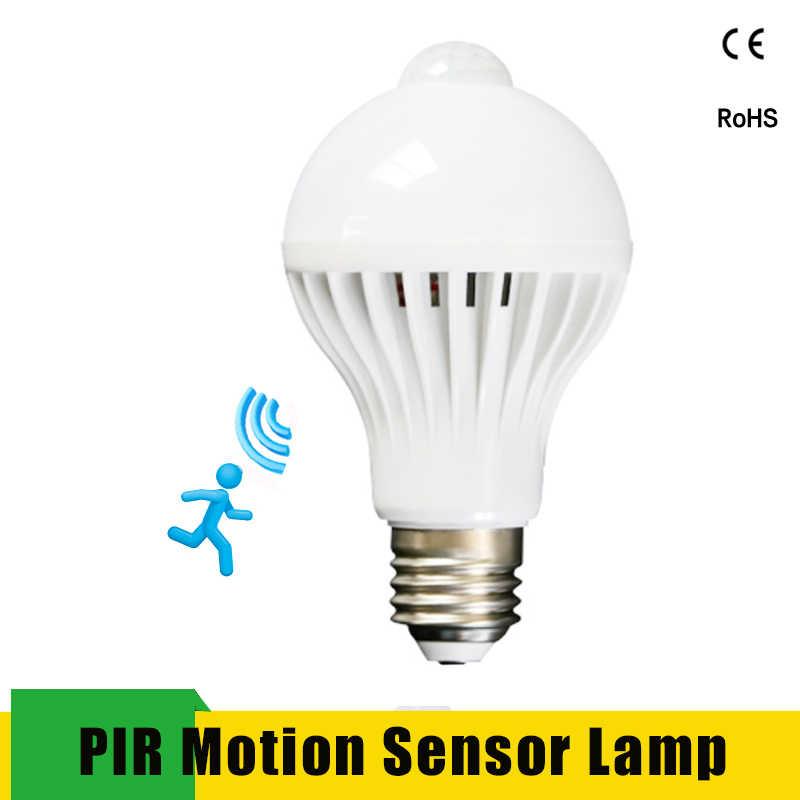 Светодиодная лампа с датчиком движения, умный светильник, лампа E27 220 В 110 В, светодиодная лампа 3 Вт-9 Вт, инфракрасный звуковой светильник для дома, лестницы, гаража