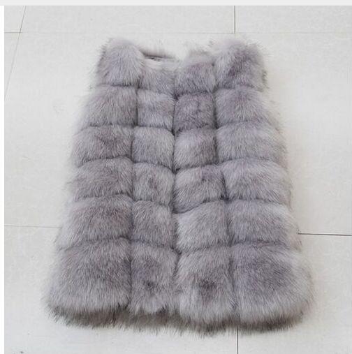 Высококачественная меховая жилетка, роскошное пальто из искусственного лисьего меха, теплое Женское пальто, жилетки, Зимняя мода, меховые женские пальто, куртка, жилетка, жилет, 4XL - Цвет: light grey