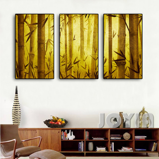 Retro Bamboo Forest Canvas Painting Background Wall Decor Art Canvas ...