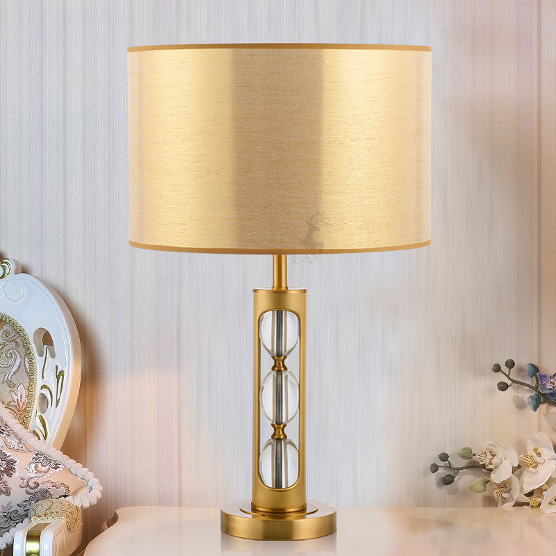 Gold Lamp Shades Table Lamp For Living Room Bedroom Table Lamps Luxury Copper Crystal Lampara Study Cloth Desk Lamp H69cm Led Table Lamps Lights & Lighting