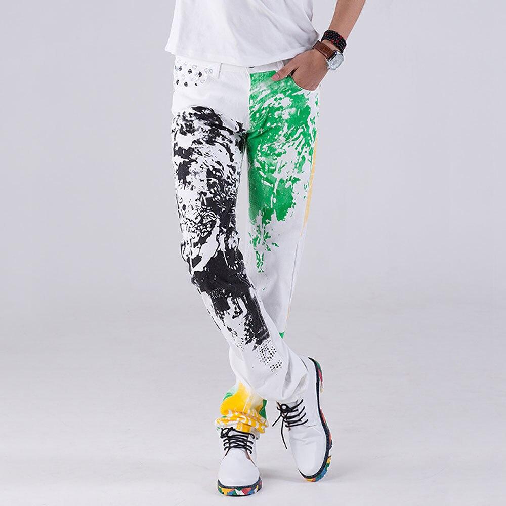 2019 Di Modo Alla Moda Fresco Mens Pantaloni Jeans Con Stampa Graffiti Dipinta Denim Slim Fit Bianco Dei Jeans Degli Uomini Di Hip Hop Roccia Street Wear