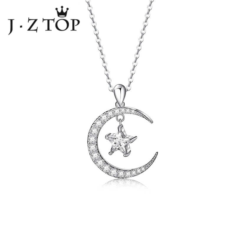 JZTOP ムーンスターフルジルコンネックレスジオメトリチェーンペンダントチョーカーネックレス女性絶妙な宴会パーティーコリアー宝石類のギフト