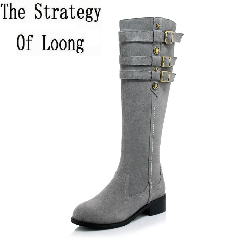 Women Full Grain Leather Short Flush Thick Warm Knee High Boots Round Toe Real Leather Big Size 40 Small Size 33 Boots  1110 2016 new arrivals free shipping full grain leather round martin vintage thick boots women shoes