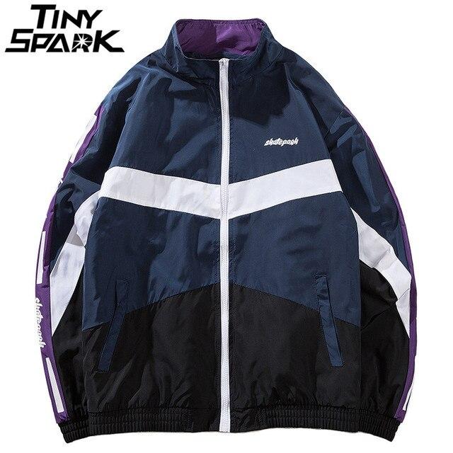 Hip Hop Men Jacket Windbreaker Color Block Jacket Coat Thick Cotton Warm Vintage Retro Track Jacket Streetwear 2018 Autum Winter