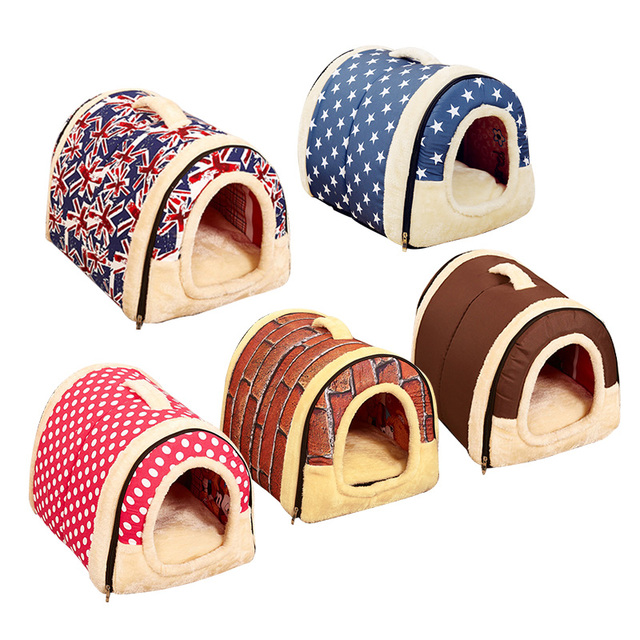 Portable Pet Dog Cat House Foldable Pet Supplies Travel House Plush Cloth  Kennel For Universal Pet Mat Dog Cat Bed Sofa 3 Size