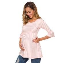 Топы с оборками для беременных; Свободная блузка для беременных; полосатая футболка; Туника; 3 четверти; повседневная одежда для мам; Одежда для беременных женщин