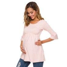 Babado blusa para maternidade solta, blusa de gravidez listrada túnica 3 quartos casual feminino roupas de maternidade grávidas