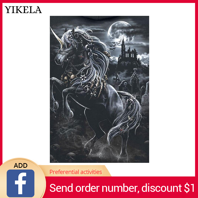 YIKELA 5D Full Square Diy Diamond Painting Unicorn Castle Diamond Embroidery Cross Stitch Rhinestone Painting Home Decor GiftYIKELA 5D Full Square Diy Diamond Painting Unicorn Castle Diamond Embroidery Cross Stitch Rhinestone Painting Home Decor Gift