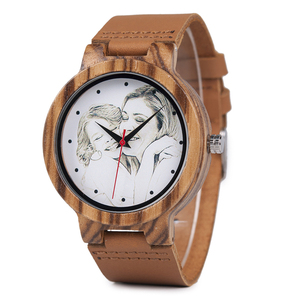 Image 5 - カスタムブランド自身の写真腕時計ユニークな竹木革因果石英男性はカスタマイズされたロゴ誕生日ギフト