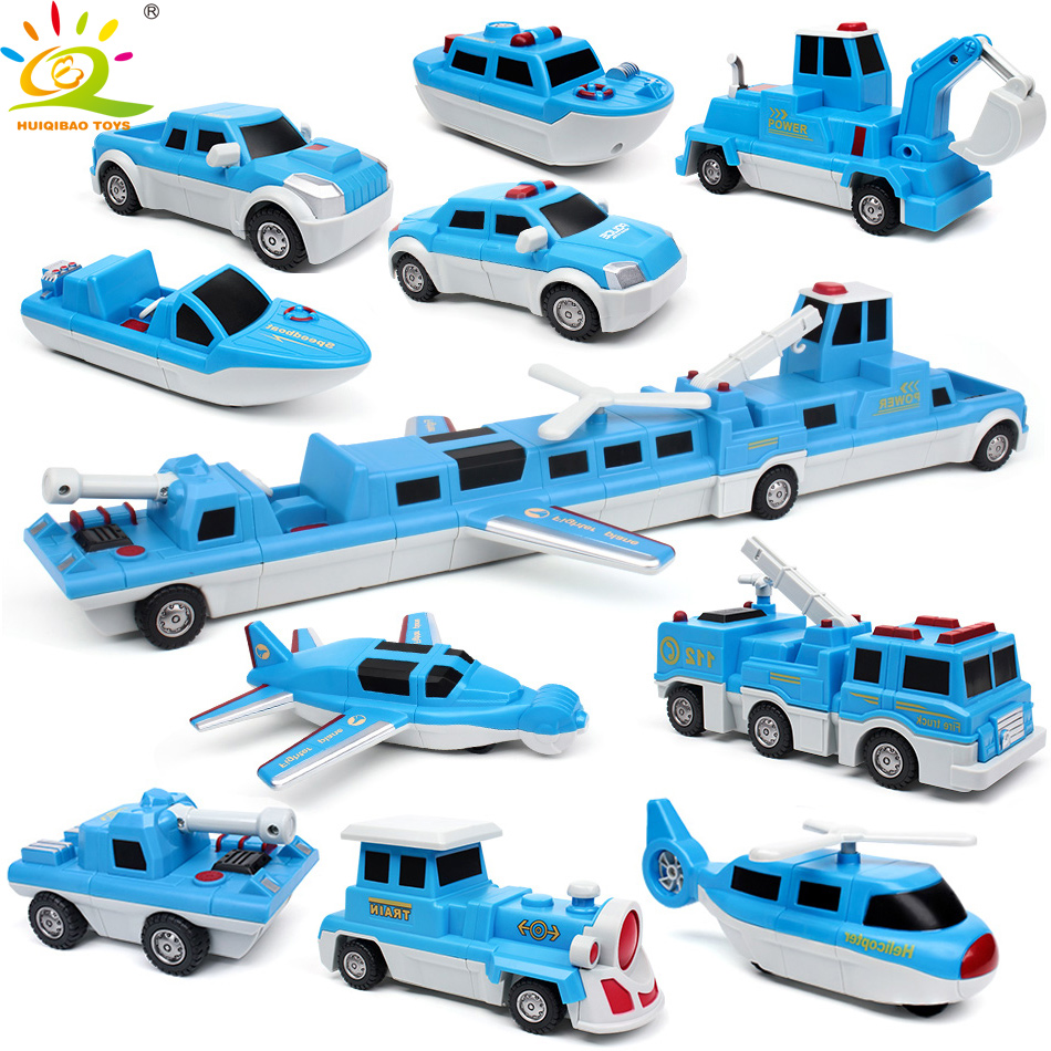 HUIQIBAO TOYS 10pcs 10in1 Magnetic Train Building Blocks DIY Police Plane Boat Truck car Game Kit