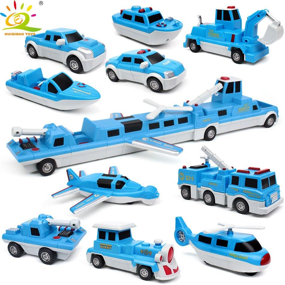HUIQIBAO jouets 10 pièces 10in1 blocs de construction de Train magnétique bricolage Police avion bateau camion voiture jeu Kit pour enfants brique éducative