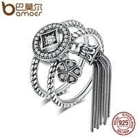BAMOER 100 925 Sterling Silver Double Layer Round Geometric Long Tassel Finger Ring For Women Bohemian