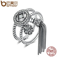 BAMOER 100 925 Sterling Silver Double Layer Round Geometric Long Tassel Finger Ring For Women Bohemian