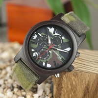 Saat erkek Man Watches Wooden Men Quartz Jungle Camo Camouflage BOBO BIRD Wristwatches Japanese Show Date Week Canvas Strap