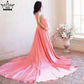Sexy Backless Pearls pregnancy photography dress Long Train  Evening  Dresses Brand design Plus Size 2017