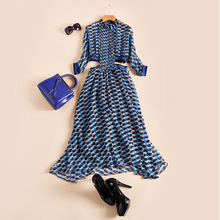 77Fang brand women's sexy pattern pleated dress runway autumn fashion high quality silk half sleeve maxi dress