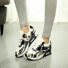 Поп женщины повседневная обувь камуфляж сетки обувь tenis Тренеры корзины толстой подошве плоские туфли zapatillas deportivas mujer AK071223