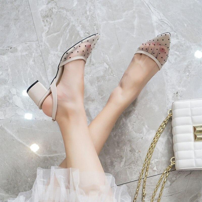 Baotou Sandalias Mujer verano 2019 nueva malla de moda Punto de onda Sexy temperamento agudo medio de moda Sandalias de tacón alto Vinchas de flores de cristal rosa y AB de moda, diadema redonda con diamantes de imitación para mujer, accesorios capilares de lujo