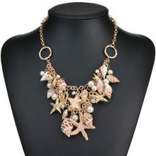 184e730c0f5d MissCyCy 2016 Nuevo diseño de alta calidad de moda gran babero declaración  collares conchas de mar estrella de mar perla simulad.