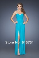 New Arrival 2014 Sexy Cheap Sweetheart A Line Purple Blue Chiffon Beaded Prom Dresses Front Slit Open Back Evening Dresses Long