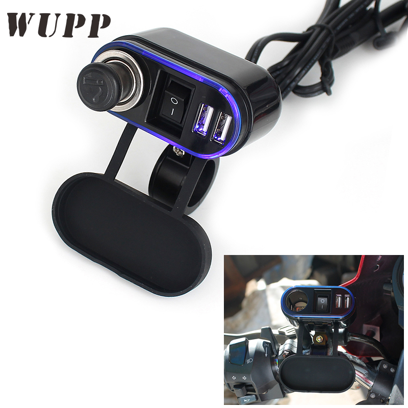 WUPP Motorcycle Dual 5V 1A/ 2.1A USB Car Charger Cigarette Lighter With Cigarette Butts  ...