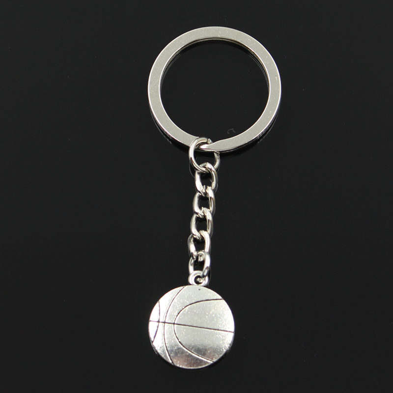 Keychain 18x21mm Double Sided Foot Ball Basketball Pendants DIY Men Jewelry Car Key Chain Ring Holder Souvenir For Gift
