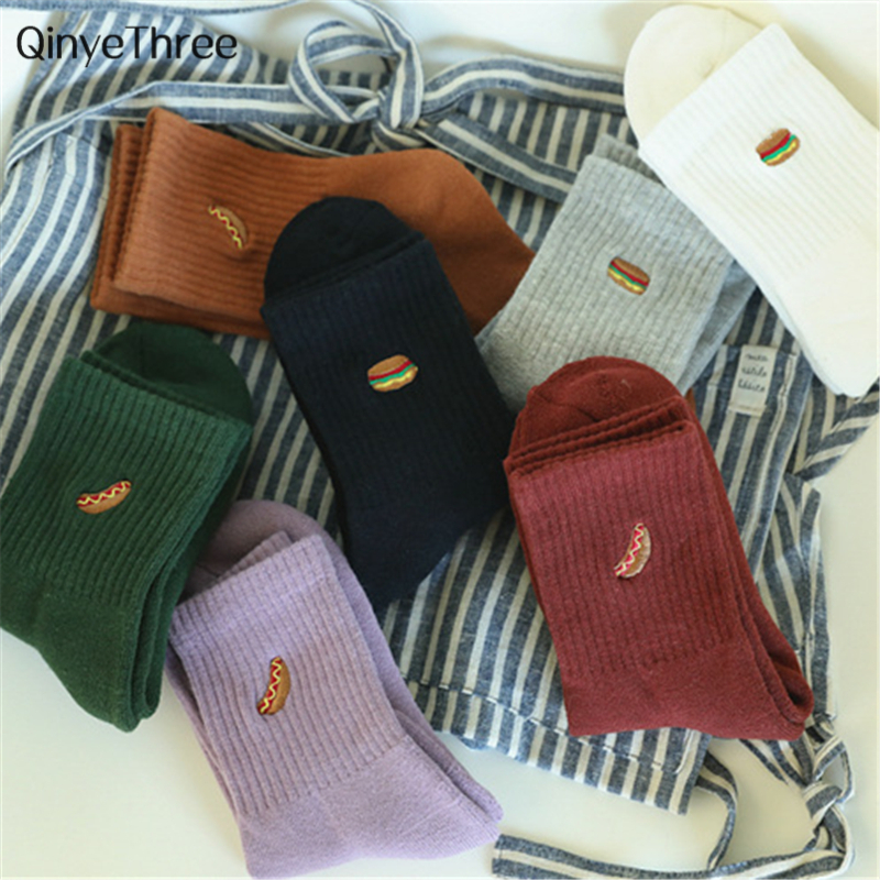 Warm Winter Fashion Kawaii Hamburgers Hot Dogs Asymmetric Terry Socks Funny Happy Socks Women Thickening Harajuku Couples' Sox
