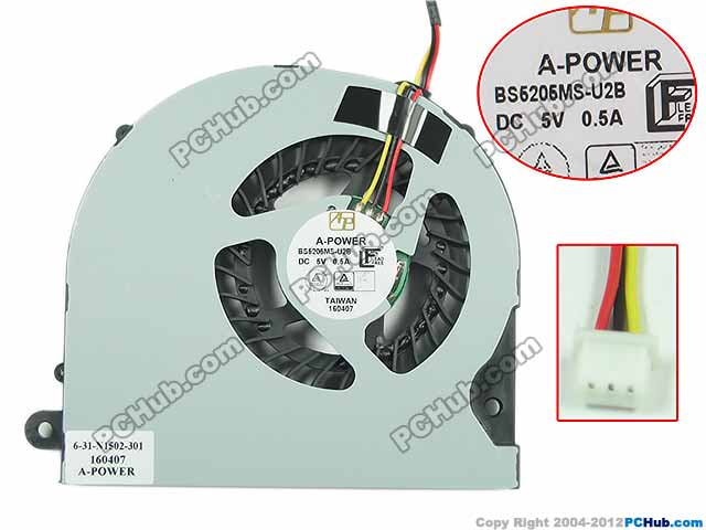 Free Shipping For A-POWER BS5205MS-U2B DC 5V 0.5A 3-wire 3-pin connector Server Laptop Fan free shipping for delta afc0612db 9j10r dc 12v 0 45a 60x60x15mm 60mm 3 wire 3 pin connector server square fan