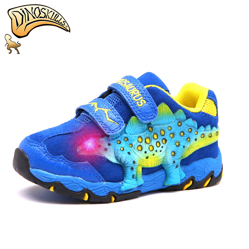 Dinoskulls Kids Boys Shoes Light Up Children's Sneakers 3D Dinosaur Leather Toddler Trainers 2019 Winter LED Glowing Sport Shoes