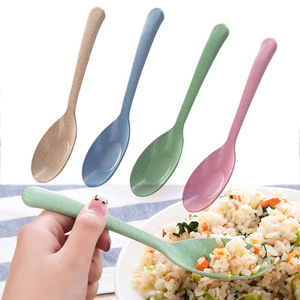 Kitchen Accessories 1PC Spoon Wheat Straw Eco friendly New Popular Restaurant Portable Tableware Home Supplies
