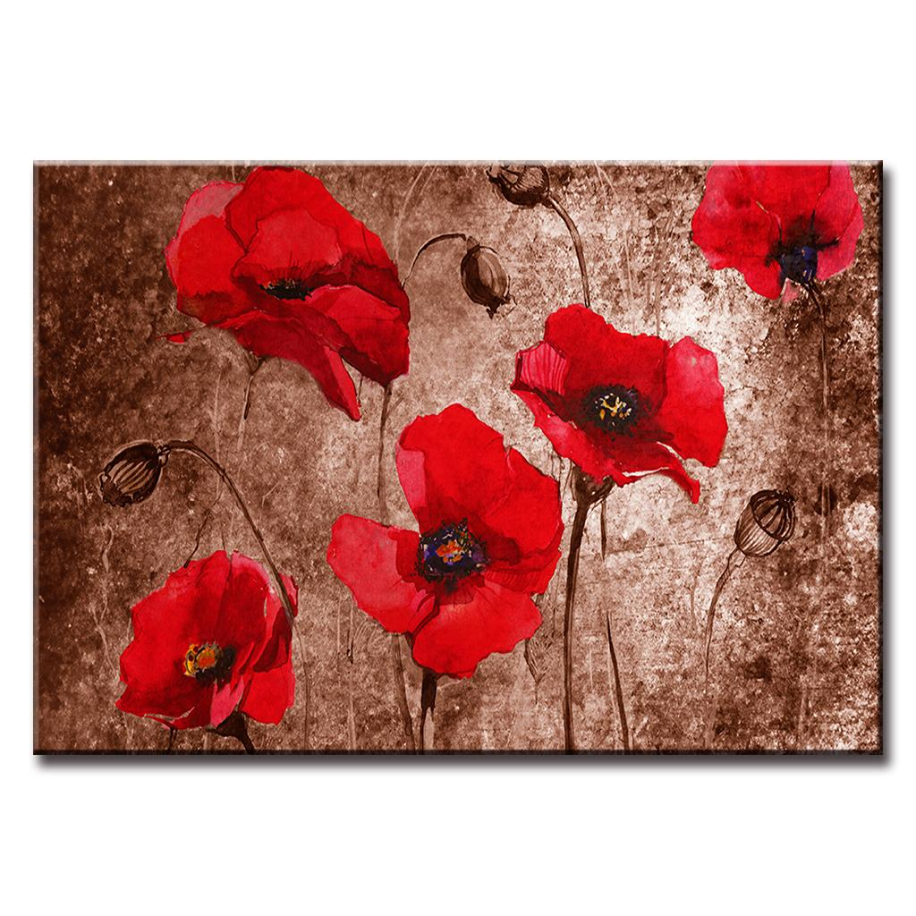 Flower Canvas Art Abstract Red Poppy Flower Oil Painting Print On