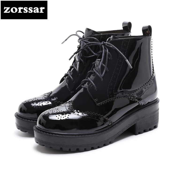 {Zorssar} Genuine Leather High heel ankle boots women platform boots 2018 New autumn winter Womens Shoes High heels Martin boots zorssar 2018 new fashion women shoes round toe thick heel ankle snow boots patent leather high heels womens boots winter