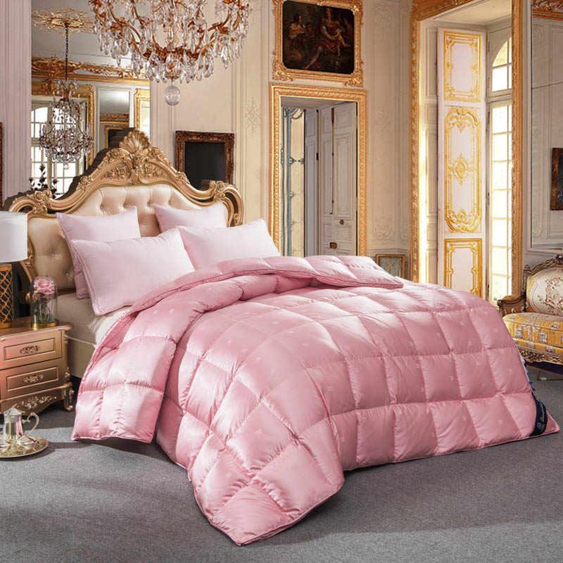Edredón de lujo Papa & Mima de ganso acolchado de invierno de seda + tela de algodón king queen tamaño completo dropshipping