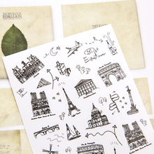 6pcs/set Creative black and white hand-painted building stickers waterproof transparent decoration stickers