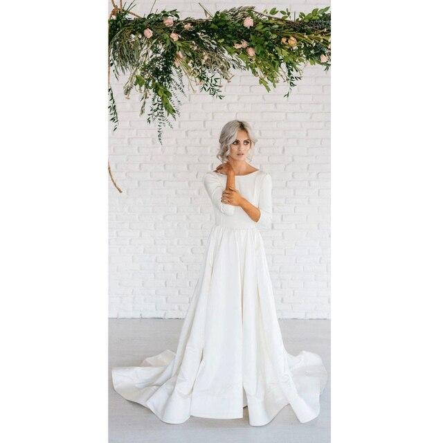Cheap 2017 Simple Vestido de noiva 3/4 Sleeve Wedding Dresses Backless Sweet Train robe de soiree Bridal Gowns