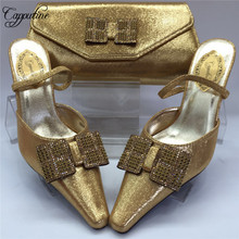 Capputine Latest African Pointed Toe Woman Gold Shoes And Bag Set Summer Elegant High Heels 8CM Party Shoes And Bag Set BL855C