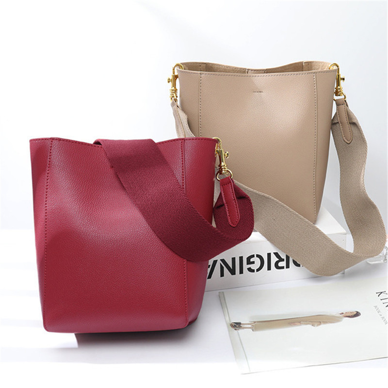 Women bag with Two Strap Bucket Bag Women Genuine Leather Shoulder Bags Ladies Crossbody messenger Bags