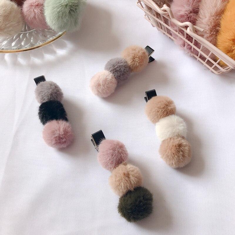 Korean Cute Fur Pompom Mini Ball Hair Clips Barrettes For Baby Children Hairpins   Headwear   Women Hair Accessories For Girls Gift