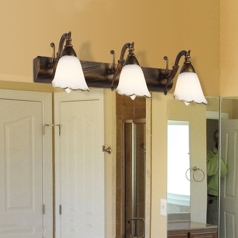 Europe pastoral bathroom wall lamp retro Iron mirror front light in bathroom bedside corridor sconce lamp iron wall lamp mirror front wall sconce with frosted glass lampshade hotel bedroom bathroom mirror front dresser mirror lights