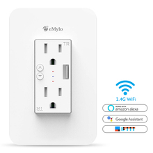 eMylo Wifi Wall Outlet Smart Socket Plate Voice Control,Timer Switch,Surge Protector Work with Alexa Echo/Google Assistant/IFTTT