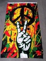 Юнин 90*150 см Флаг Rasta Peace Grafitti