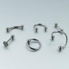 6 шт/компл 16 г титановое анодированное кольцо для носа губ