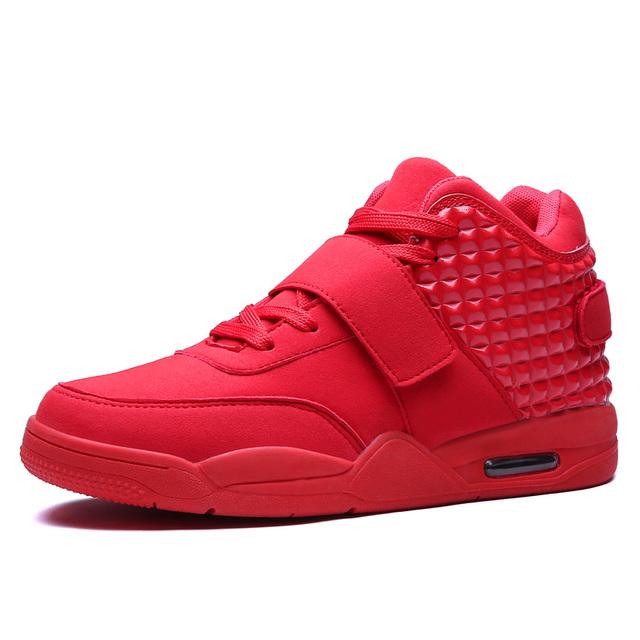 Tamaño grande 46 de La Moda de Invierno Zapatos de Los Hombres High Top Casual Red Suede Botas de Cuero de Los Hombres Entrenadores Transpirable Estilo Británico Cesta Femme