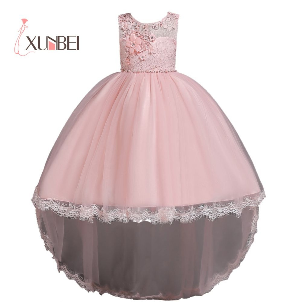 Hi-low Puffy Tulle Appliqued   Flower     Girl     Dresses   2019 Sleeveless Ball Gown Pageant   Dresses   For   Girls   First Communion   Dresses