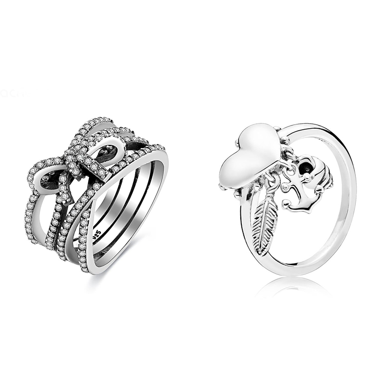 2 Style 925 Silver Ring Charm Crystal Love Heart Bow Feather Wedding Party Rings For Women Jewelry