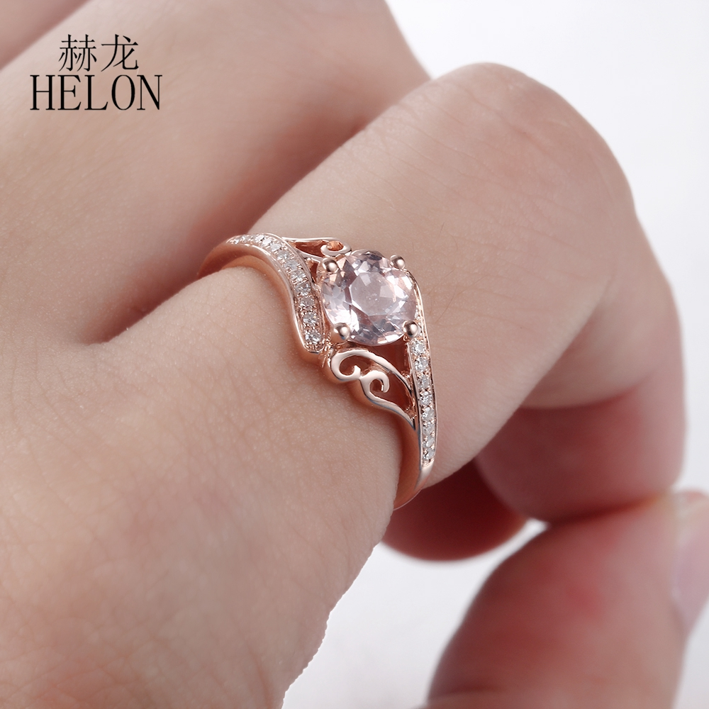 HELON 6mm Round Shape 0.81ct Morganite Solid 14K Rose Gold Real ...