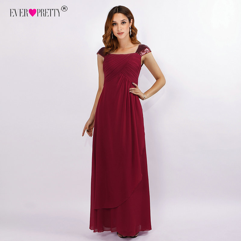 Burgundy Long   Bridesmaid     Dresses   Ever Pretty EZ07651BD Sequined Shoulder Pleated Chiffon Wedding Guest   Dress   Elegant Party Gown